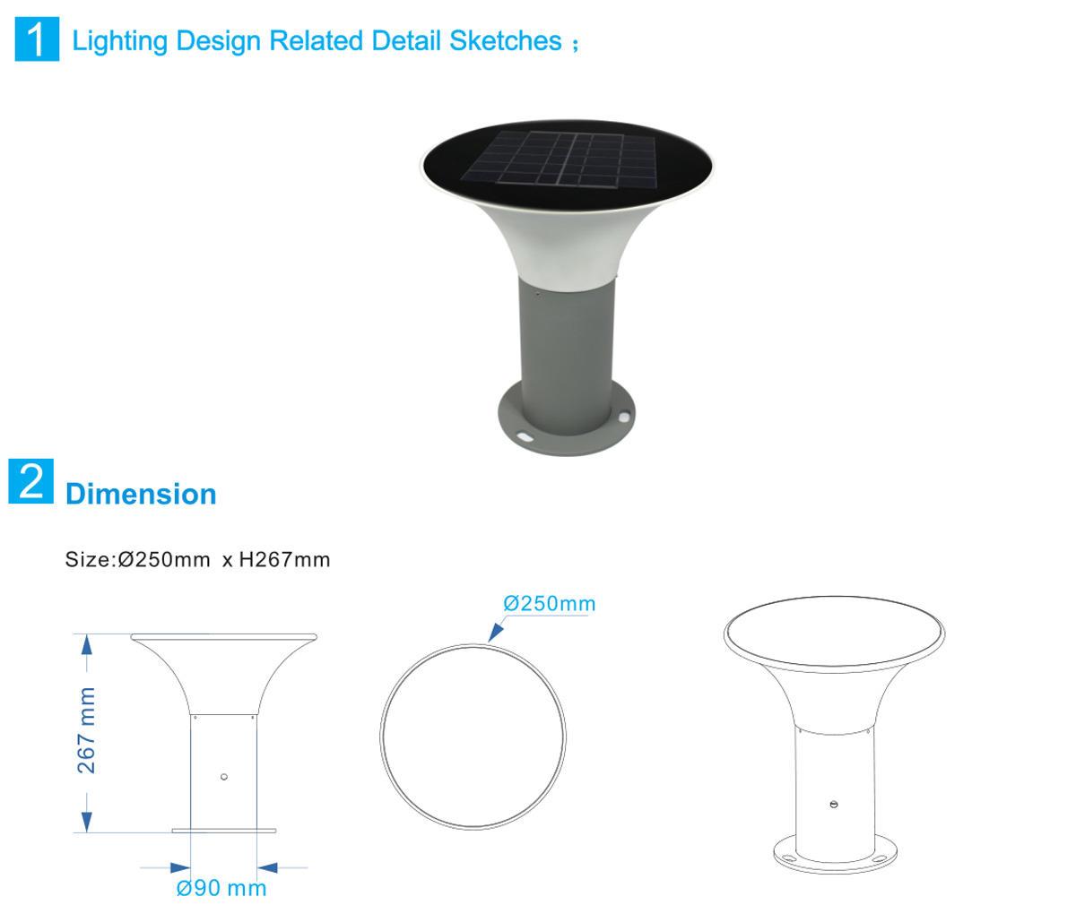 Kons-Solar Powered Lawn Lights   5w Led Solar Lawn Light 3000k6000k 267mm Inner-1