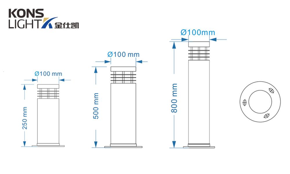 Kons-10w Led Wood Housing Led Lawn Light 120° Beam 250mm-800mm-2