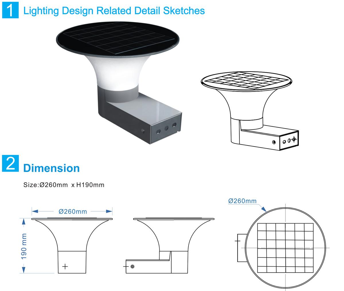 Kons-Manufacturer Of 5w Led Solar Wall Light Inner Switch Warm White