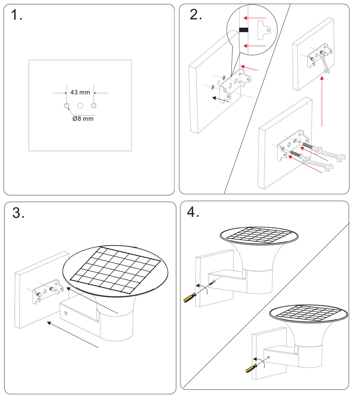 Kons-Manufacturer Of 5w Led Solar Wall Light Inner Switch Warm White-1