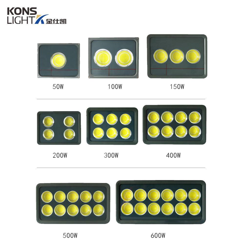 Kons-Led Cob Flood Light High Luminous 50w-600w Tempered Glass+ Aluminum 3000k-6000k-2