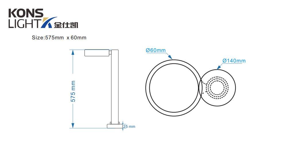 Kons-Lawn Light, 10w Led Lawn Light 120° Beam 3000k Waterproof Aluminum Housing-2